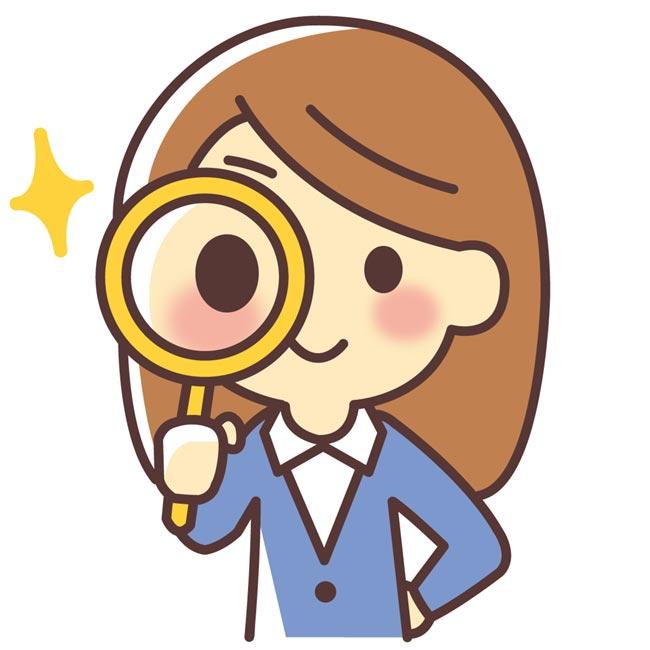 女性と虫眼鏡.分析