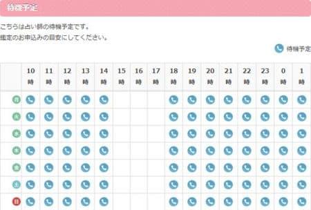 エキサイト電話占い所属の麻恵 エマ先生のスケジュール