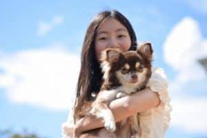 犬を抱っこした女性