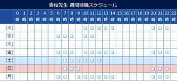 電話占いウィル所属の香桜先生のスケジュール