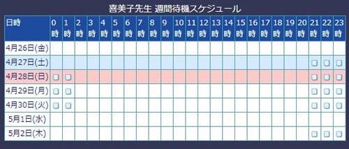 電話占いウィル所属の喜美子先生のスケジュール