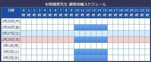 電話占いウィル所属の杉岡潤泉先生のスケジュール