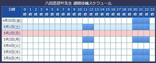 電話占いウィル所属の八田恋音叶先生のスケジュール